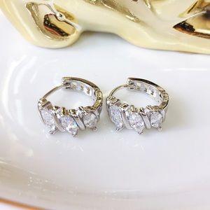Jewelry - Sterling silver 3 marquises cut cz hoop earrings